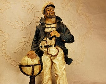 20th C, Vintage resin figurine of a ship captain, hand painted