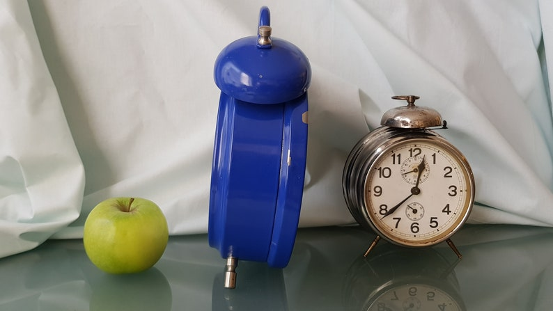 1970 EXTRA LARGE vintage Blue Kiple Double Bell Alarm Clock, Working Condition, Shabby Chic, Loft, Industrial Decor