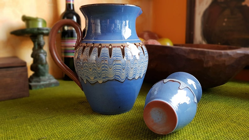 Pitcher and vase in retro blue colour Traditional Hand-made Hand-painted Pottery from Bulgaria 1960/'s