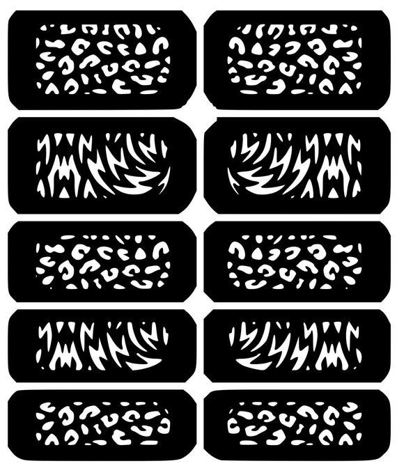 choose from 10 nail art vinyl decal sticker stencil template etsy