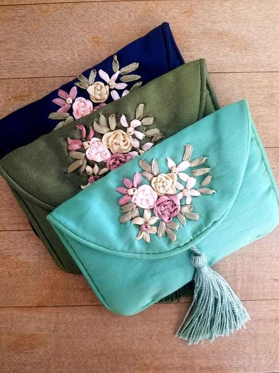 Bijoux de sac cadeau / fleur de pochette cadeau / / bijoux voyage pochette lot de 3