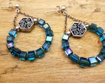 Swarovski Cube Sterling Earrings Mother's Day Gift