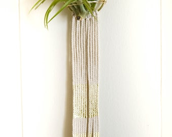 macrame air plant hanger / air plant holder / macrame / wall hanging / mini hanging planter / modern / gold / wall art / home decor