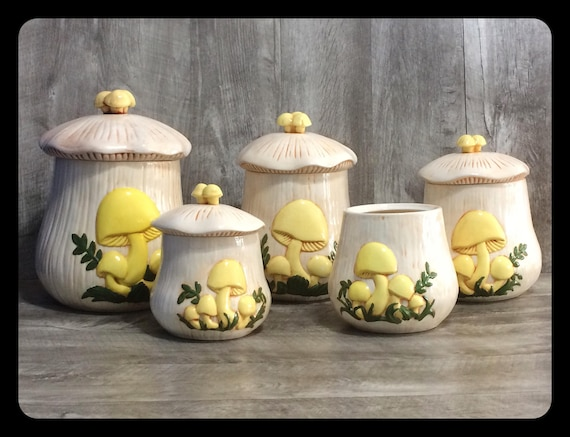 Cute Mushroom vintage ceramic kitchen canister set of 5 hand  painted,woodland,vintage canisters,retro kitchen,country cottage kitchen