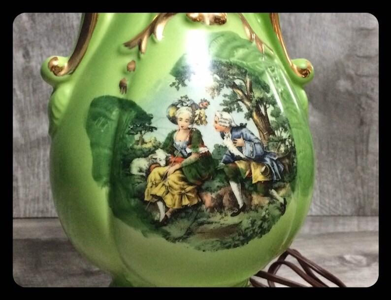 Vintage midcentury modern ceramic table lamp green and gold painted,vintage lighting,vintage table lamp,cute vintage lamp