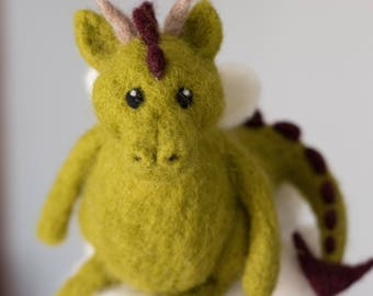 On his Cloud Alfred, Dragon Mobile made of needle felted wool - Child or baby's room decoration