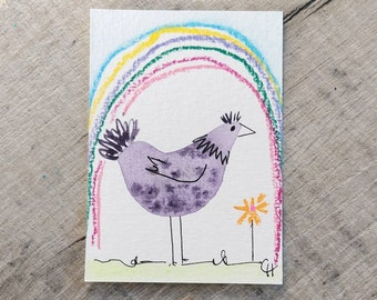cheerful art for your home Chicken Hen Art Card animal art ATC ACEO Good Morning gift idea for animal lovers