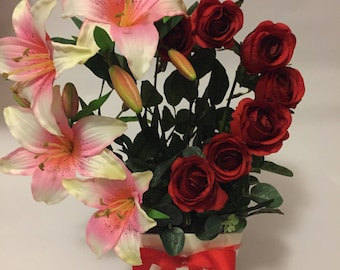 Artificial Lilly and rose heart arrangement