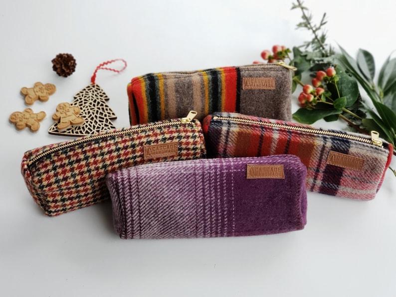 Wool Purple Plaid Pouch