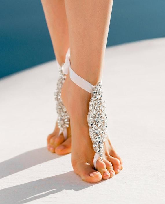 Wedding Party Foot Custom Bride Wedding Bridal Indian Rhinestone Destination Jewelry Jewelry Wedding Barefoot Gift Boho Beach Sandals RBaqBgw5