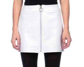 White Nappa Leather Mini Skirt With Zips Front, White Leather Skirt Size 10
