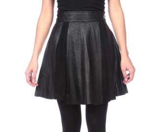 Black Leather And Suede Skirt, Mini Leather Skirt, High Waist Paneled Skirt,  Made to Measure,