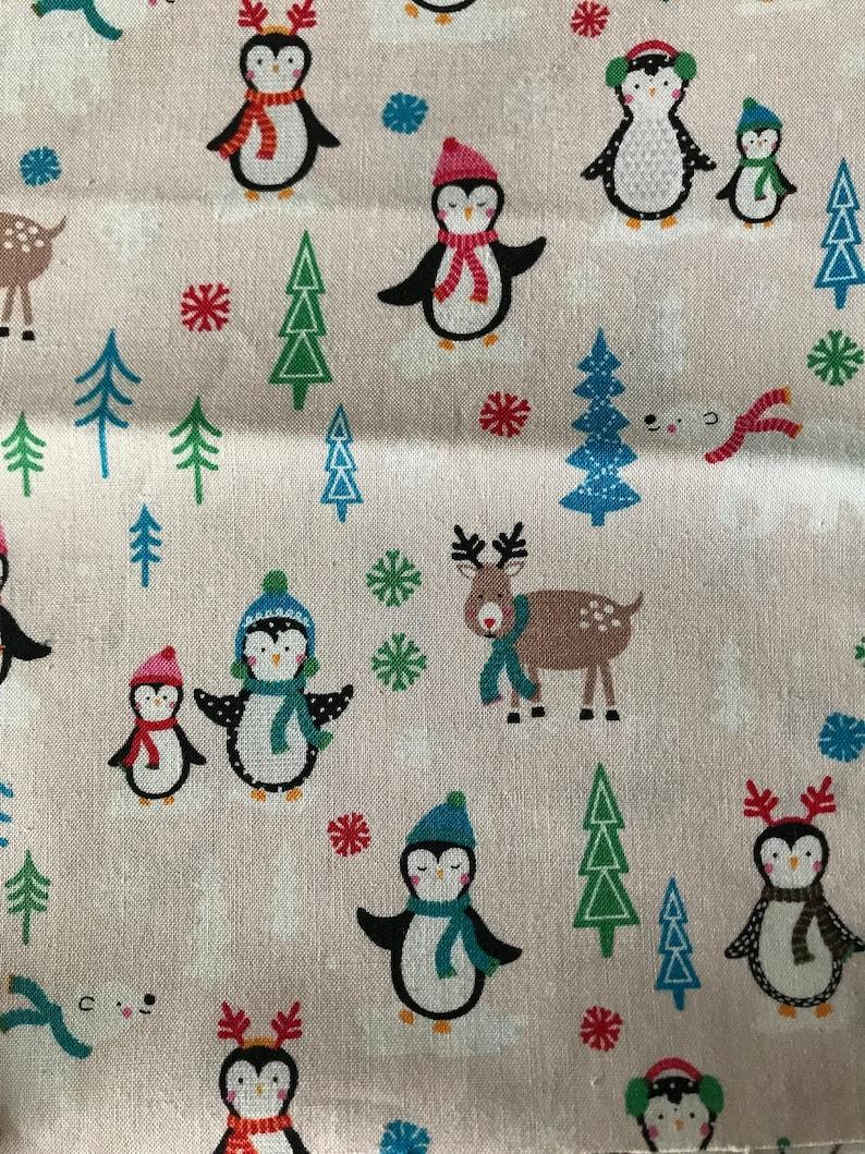 SMALL Furoshiki Cotton Wrapping Fabric Unpaper Reusable Cream Reindeer Penguin Christmas 30cm x 30cm Japanese Eco Friendly Compostable