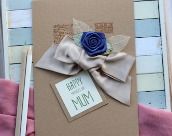 Mothers Day Card, Blue and Beige Floral Card Mum, Elegant Mothering Sunday Handmade Card, Personalised Gift Mum, Wooden Frame, Decorated Bag