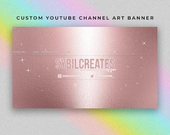 Custom YouTube Channel Art Banner - Rose Gold Glitter Stars - Branding - Graphic Design - MUA Beauty Guru Fashion Lifestyle Influencer Vlog