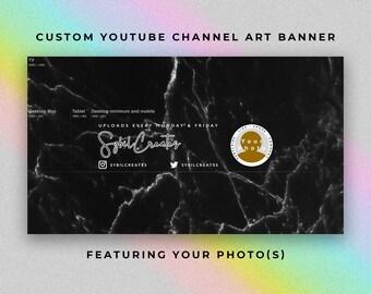 Custom YouTube Channel Art Banner - Black Marble White - Branding - Graphic Design - Artist Beauty Guru Fashion Lifestyle Influencer Vlog