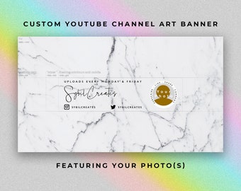 Custom YouTube Channel Art Banner - Grey Marble White - Branding - Graphic Design - Artist Beauty Guru Fashion Lifestyle Influencer Vlog
