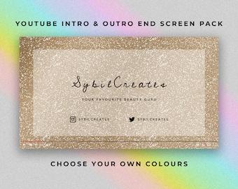 Glitter Original YouTube Intro and Outro End Screen Pack - Custom Animated Video - Video Editing - Beauty Guru Fashion Lifestyle Studio Vlog