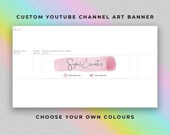 Custom YouTube Channel Art Banner - Watercolour Watercolor Stroke - Branding - Graphic Design - Beauty Guru Fashion Influencer Vlog Vlogger