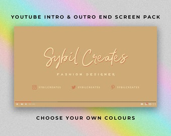 Calligraphy Vibes YouTube Intro and Outro End Screen Pack - Custom Animated Video - Video Editing - Beauty Fashion Influencer Vlogger Vlog