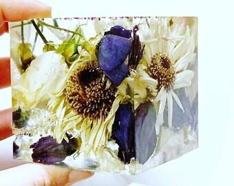 Wedding flower preservation - cube keepsake - 5cm
