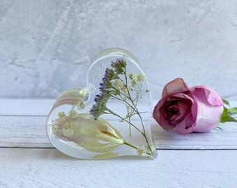 Funeral flower preservation - heart keepsake