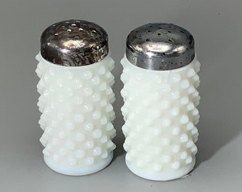 White Milk Glass Salt and Pepper Shakers in Diamond Pattern