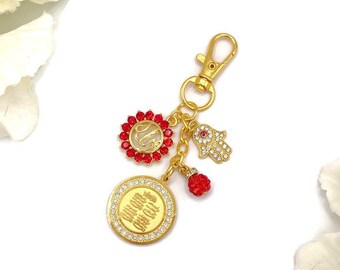 Protection Keychain Keyring Exclusive Gold Crystal Pink Allah Evil Eye Shaped Bag Charm Islamic Muslim