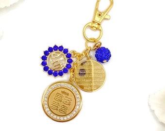 Muslim Allah Bag Charm Islamic Exclusive Gold Crystal Pink Evil Eye Keychain Keyring Protection