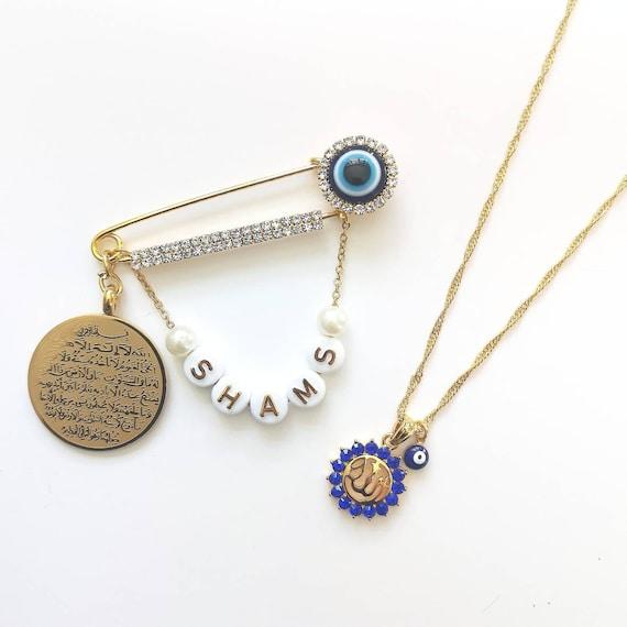 Ayatul Kursi Allah Blue Evil Eye Diamante Stroller Pin & Necklace Set Mum  and Baby - Islam, Muslim, Baby Pin, Mum to Be, New Mum