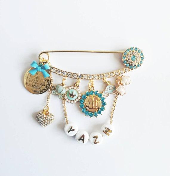 Personalised Blue Diamante Ayatul Kursi, Allah, Evil Eye Stroller Baby Pin  - Muslim, Islamic, Name, Custom