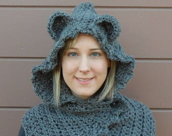 Crochet Bear Ear Hooded Cowl