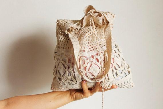 Vintage Crochet Shoulder Bag, Boho Women's Bag, Ec