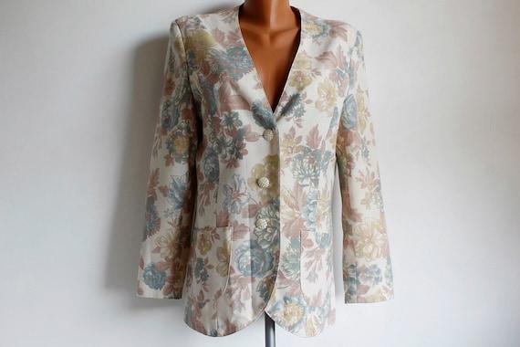 Floral Print Vintage Blazer Women, Pastel Colors S