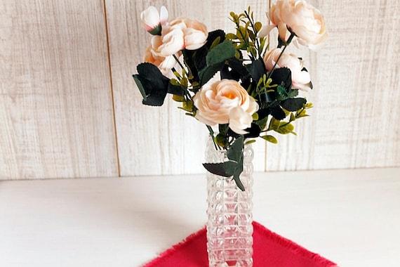 Glass Vintage Vase Rectangular Glass Vase Tall Glass Vase Etsy