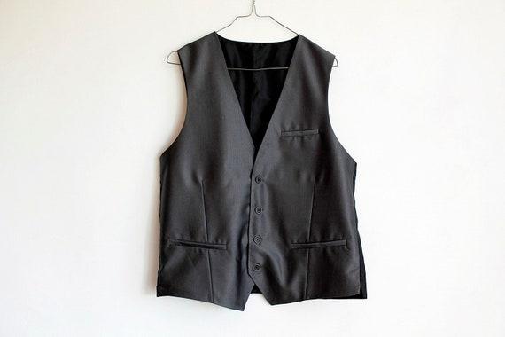 Gray Herringbone Tuxedo Vest Size 40, Vintage Form