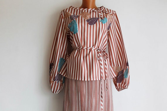 Summer Vintage Blouse Skirt Set 80's, Calf-Length