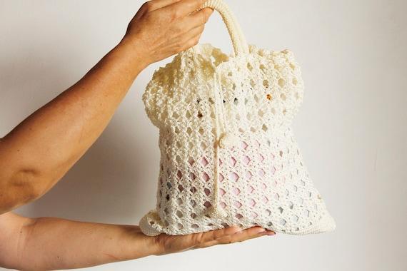 Cream Silk Crochet Women's Bag, Boho Chic Ecru Tot