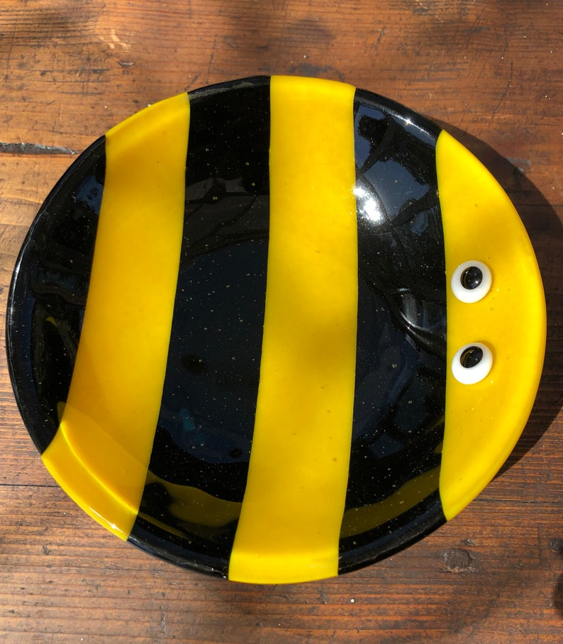 Crazy Bee fused glass bowl