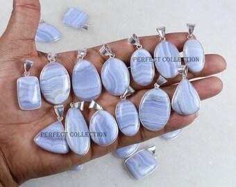 Blue Lace Agate Pendant,Drusy Blue Lace Agate Pendant 36x27x22mm,28.7g-h1025