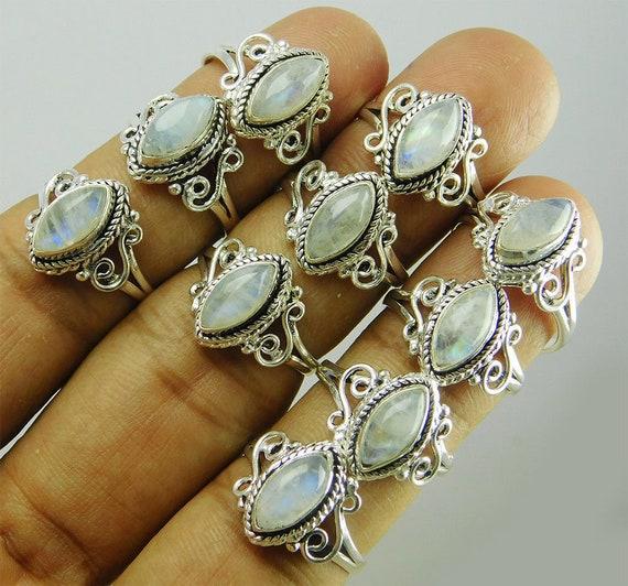 Bulk Sale ! 100 PCs Moonstone,Amethyst /& Mix Gemstone .925 Silver Plated Rings