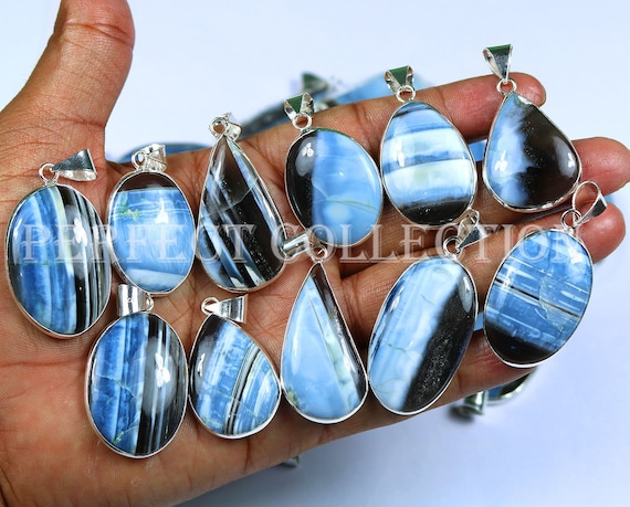 Mookaite Jasper Gemstone .925 Silver Plated Bezel Pendants 20 PCs Natural Lot !