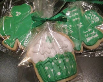 One Dozen St Patrick's Day Cookies ~ Shamrocks and Fun!  Luck of The Irish or Green Beer Celebrations