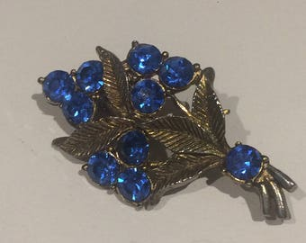 Beautiful Antique Brooch Blue Stones Art Nouveau