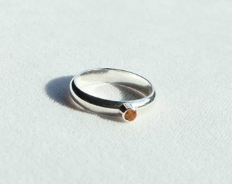 Sterling Silver Band Ring with Citrine Gemstone
