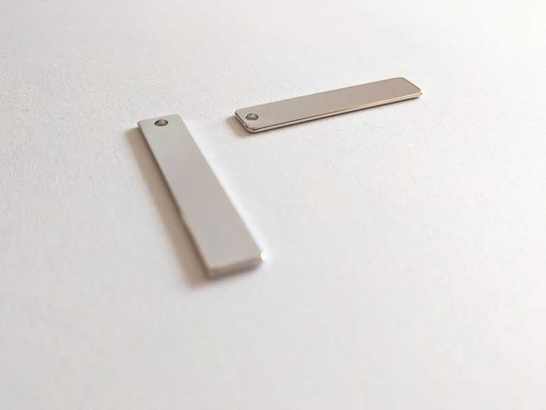 5 Silver Single Hole Bar Pendants for Stamping Engraving