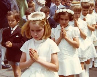 Vintage photo - Communion parade - Original Vintage Photos from PhotoTrouvee - 1970s found photo
