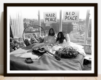 John Lennon Yoko Ono Art Print Peace Poster The Beatles Etsy