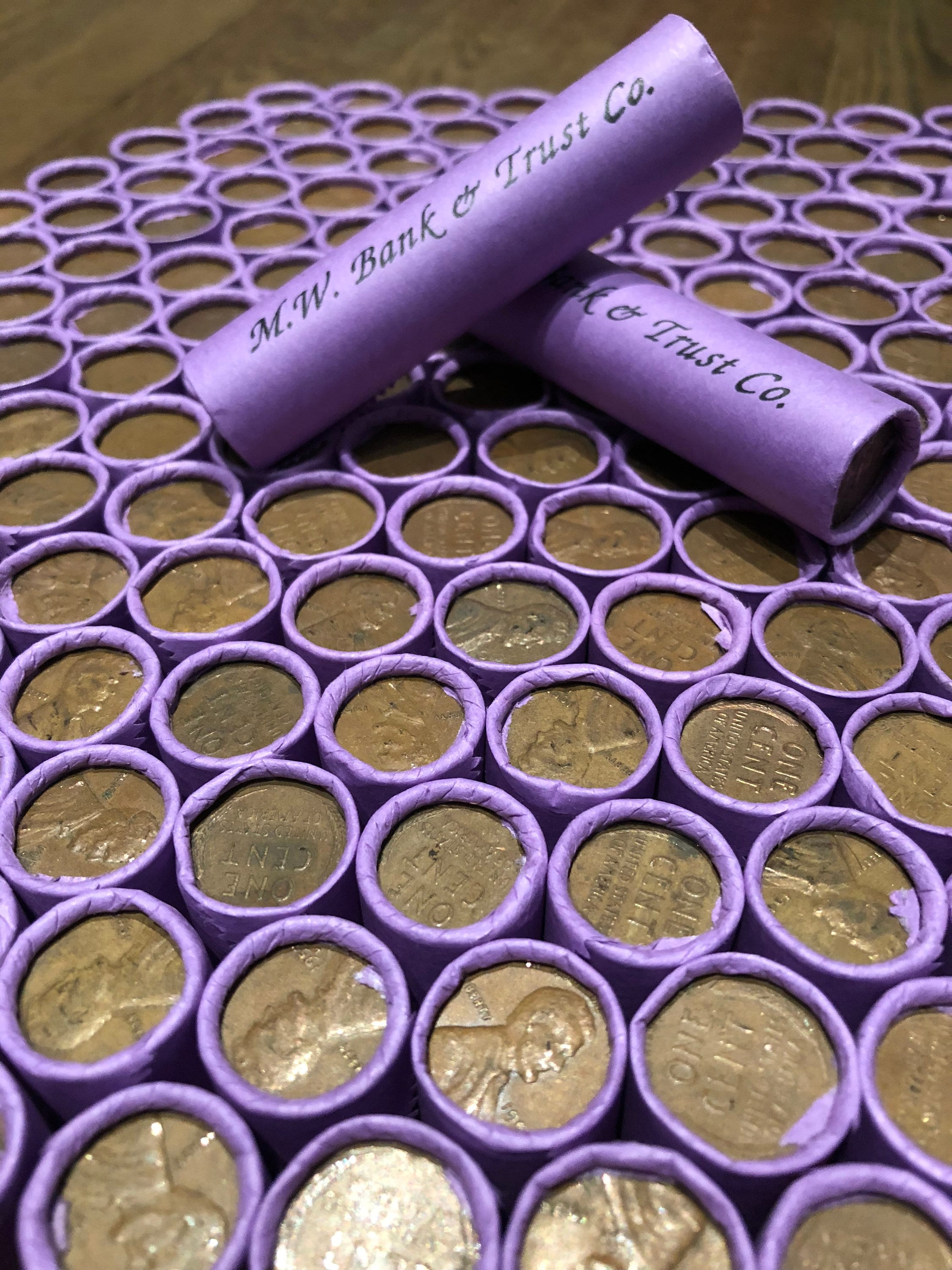 Unsearched 2 rolls LINCOLN CENTS 100 PENNIES Some COPPER BULLION PENNIES