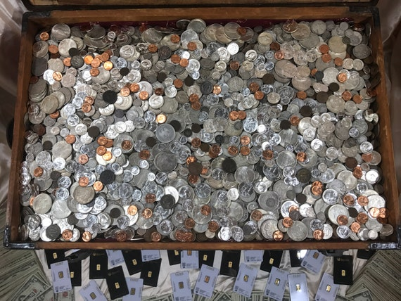 Coin Collection For Sale >> Treasure Chest Lot Old Coin Collection United States Money Lot Currency Set Estate Sale Liquidation Vintage Hoard Coins Collectibles Bullion